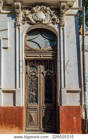 Old Beautiful Vintage Wooden Door Of Noble Mansion.