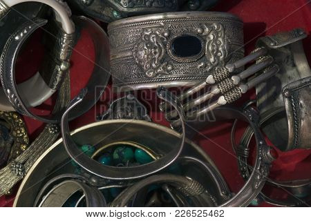 Ancient Tibetan Silver Massive Bracelets With Buddhist Patterns.
