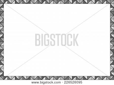 Picture Frame Made Of Regular Triangles In Grayscale With Black Outline, Can Be Easily Cut Out And U