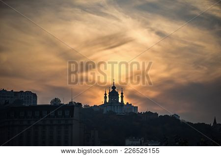 Sunset Over Saint Andrew's Church In Kyiv, Ukraine