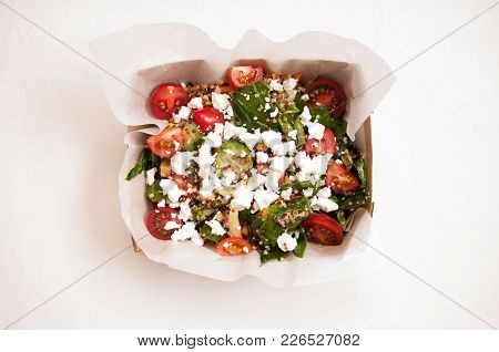 Farm Fresh Healthy Organic Summer Salad With Quinoa And Chickpeas, Feta, Spinach And Tomato