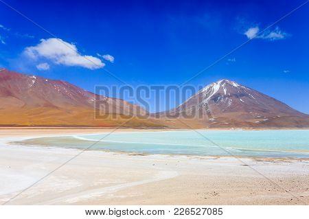 Laguna Verde Landscape,bolivia.beautiful Bolivian Panorama.green Lagoon And Licancabur Volcano
