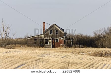 Prairie Abandoned Homestead In Saskatchewan Canada Winter