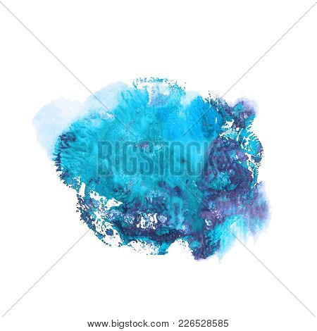 Abstract Acrylic Paint Monotyped Spot. Blue And Violet Bright Colors. Vector Illustration Isolated O