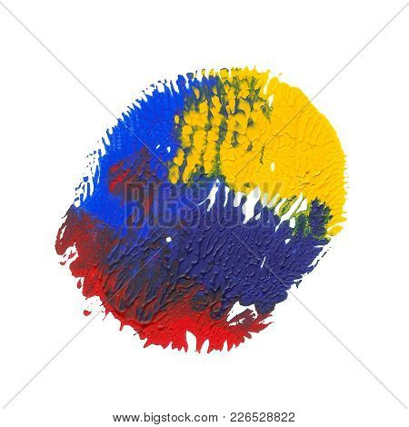 Abstract Acrylic Paint Monotyped Spot. Yellow, Blue, Red Bright Colors. Vector Illustration Isolated