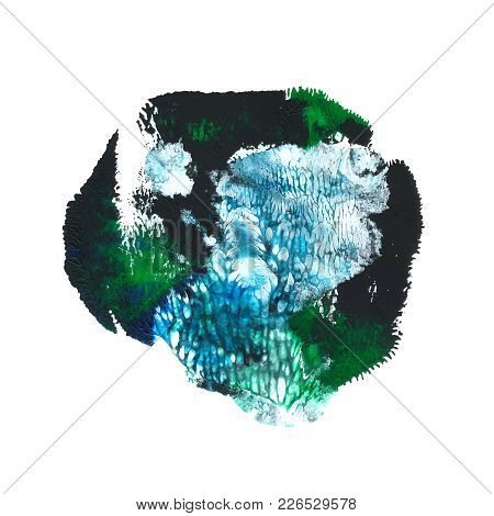 Abstract Acrylic Paint Monotyped Spot. Green, Turquoise, Blue, Black Bright Colors. Vector Illustrat