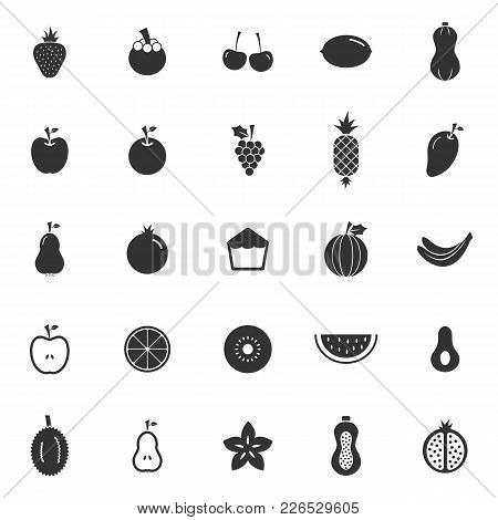 Fruit Icons On White Background, Stock Vector