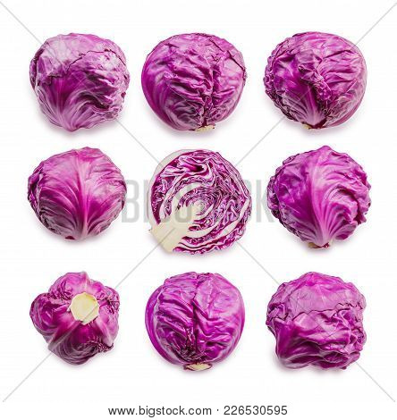 Collection Of Red Cabbage Isolated On White Background, File Contains A Clipping Path.
