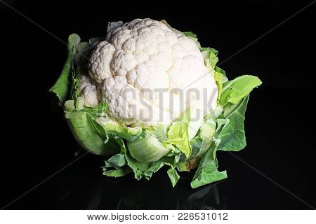 Cauliflower Head Curd Coliflor On Black Reflective Studio Background. Isolated Black Shiny Mirror Mi