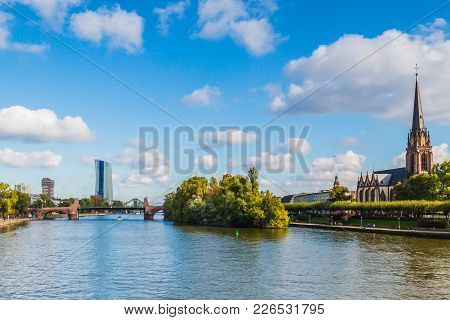 Main River In Frankfurt Am Main. It Is The Largest City In The Hessen State Of Germany.