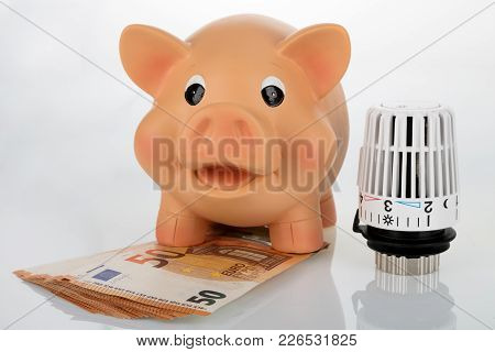 Piggybank With Thermostat  On Bright Background. Shot In Studio.