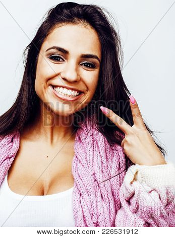 Young Happy Smiling Latin American Teenage Girl Emotional Posing On White Background, Lifestyle Peop