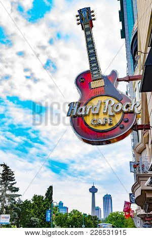 Hard Rock Cafe Logo Against Niagara Falls' Skyline