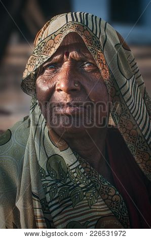 Pushkar, India - 16th February 2015 : Portrait Of An Indian Woman In Traditional Clothing.