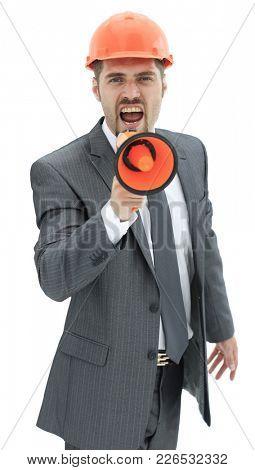 closeup.architect shouting through a megaphone.
