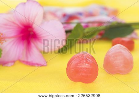 Cough Sore Throat Pastille Pills On Background Yellow