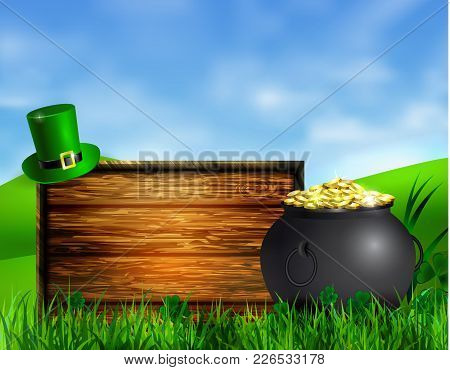 St. Patrick S Day Symbol Pot Gold Coins Leprechaun Hat With Wooden Board For Your Design Vector Illu