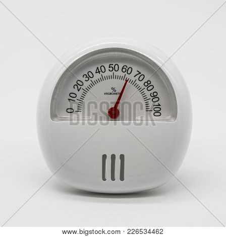 Analogue Home Thermometer And Hygrometer With Self-stand Isolated On White