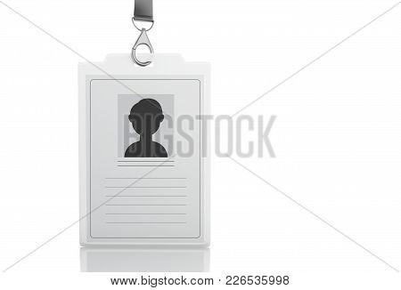 3d Illustration. White Id Badge For Mock Up. Isolated White Background