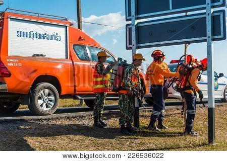 Nakhon Ratchasima, Thailand - December 23, 2017: Rescue Team Preparing Equipment In Drilling On Simu
