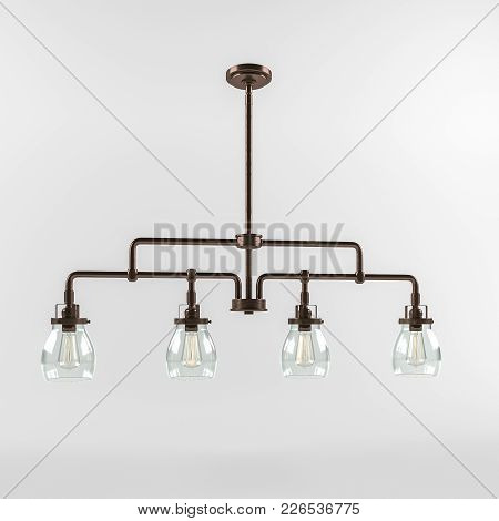 3d Rendering. Ceiling Fixture. Luminaire With Three Lamps. Glass Ceiling Lamp With Air Bubbles.