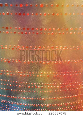 Grunge Image Of Sky Decorated With Red Balls. Colorful Background.