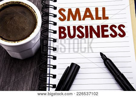 Writing Text Showing Small Business. Business Concept For Family Owned Company Written On Notebook B