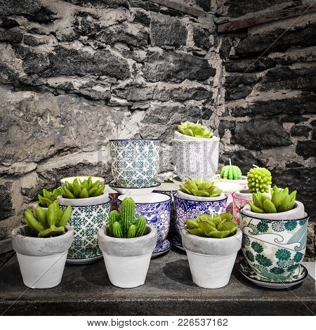 Potted Succulent Plants On Stone Background. Artificial Plants And Candles.