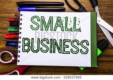 Conceptual Hand Writing Textsmall Business.  Concept For Family Owned Company Written On Notebook, W
