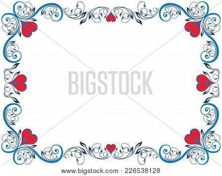Red And Blue Floral Ornamental Valentine Frame With Hearts On The White Background, Vector Illustrat