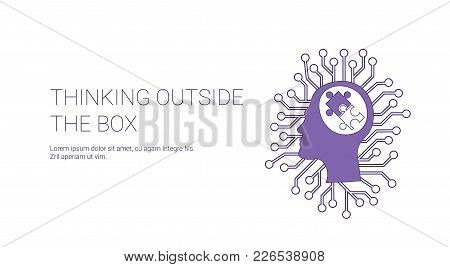 Think Outside Box Web Banner With Copy Space Creative Concept Vector Illustration