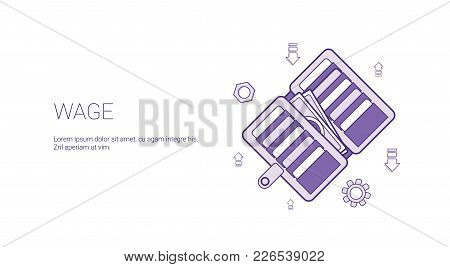 Wage Web Banner With Copy Space Business Salary Earnings Concept Vector Illustration