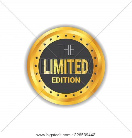 Limited Edition Sticker Exclusive Offer Label Shopping Sale Discount Golden Seal Isolated Vector Ill