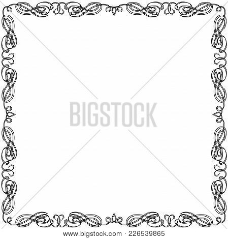 Greeting Card With Ornamental Swirl Black Frame Isolated On The White Background, Vector Illustratio