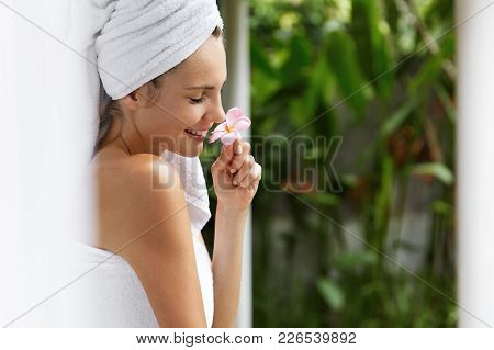 Young Pleased Pretty Woman In Hotel Room Number Looks Out Of Window, Smells Oudour Flower, Wrapped I