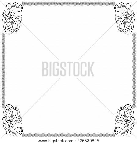 Black Frame With Many Swirl Ornate Interlaced Lines And Floral Elements Isolated On The White Backgr