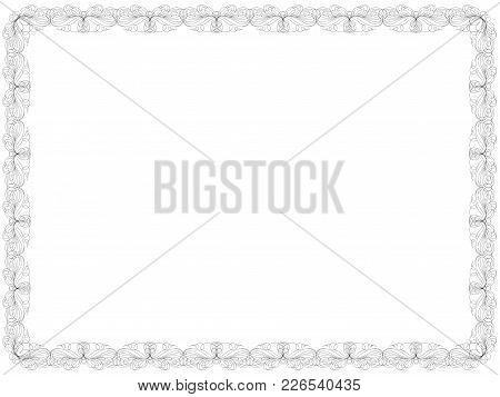 Swirl Floral Frame With Thin Ornamental Lines As A Greeting Card Isolated On The White Background, V