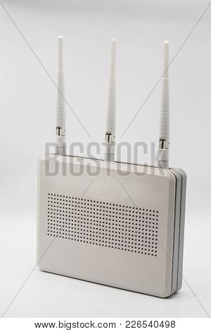 Wi-fi Wireless Router With Three Antenna Isolated On White