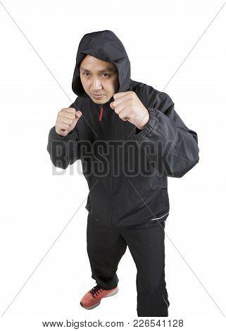 Asian Boxer Man Wearing Black Hood Jacket Pose Boxing Acting Isolated White Background