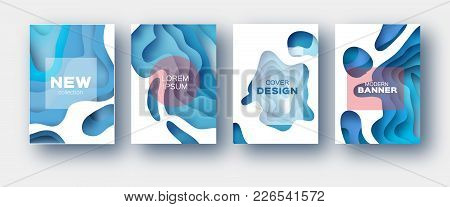 White Blue Paper Cut Wave Shapes. Layered Curve Origami Design For Business Presentations, Flyers, P