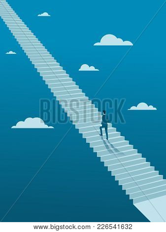 Businessman Walking Up On Endless Stair, Flat Vector Of Business Without Planing Or Goal Concept.