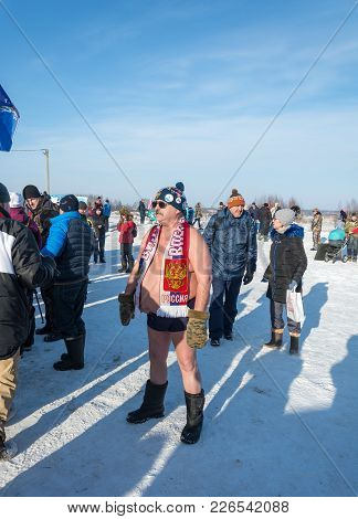 A Man Without Clothes In The Cold At The Festival Winter Fun In Uglich, 10.02.2018 In Uglich, Yarosl