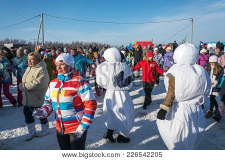 Funny Dances At The Festival Winter Fun In Uglich, 10.02.2018 In Uglich, Yaroslavl Region, Russia.