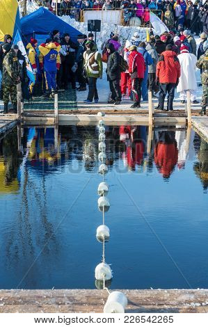A Place For Swimming Competition In Icy Water At The Winter Fun Festival In Uglich, 10.02.2018 In Ug