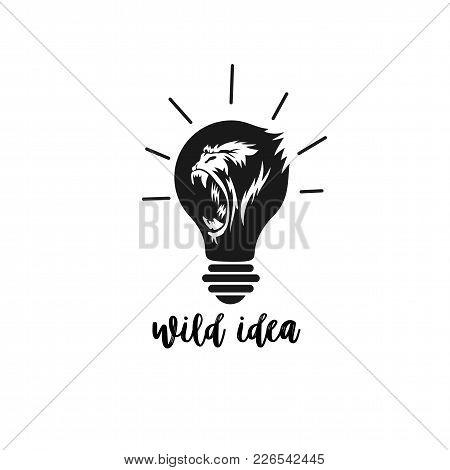 Minimal Logo Of Wild Gorilla Idea On White Background With Typography Vector Illustration Design.