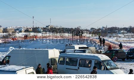 Motocross At The Festival Winter Fun In Uglich, 10.02.2018 In Uglich, Yaroslavl Region, Russia.