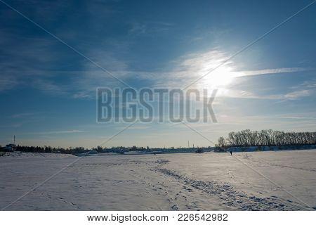 Winter Sun Over The Volga River Near The Town Of Uglich, Russia.
