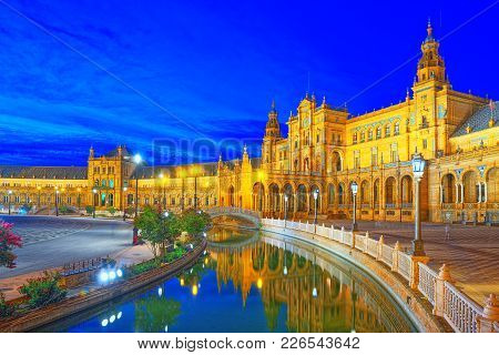 Spain Square (plaza De Espana)is A Square In The Maria Luisa Par