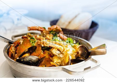 closeup mix seafood soup pot