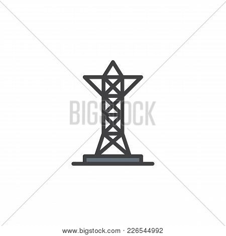 Transmission Tower Filled Outline Icon, Line Vector Sign, Linear Colorful Pictogram Isolated On Whit